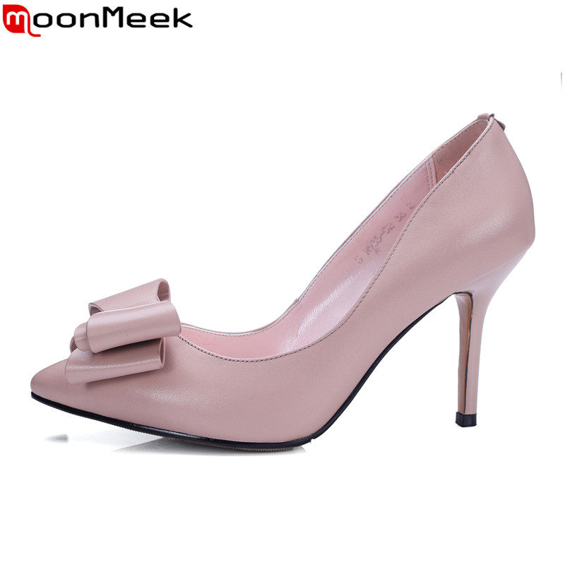 MoonMeek spring summer pointed toe high heel women pumps with butterfly knot thin heels slip on pink white black ladies shoes moonmeek new arrive spring summer female pumps high heels pointed toe thin heel shallow party wedding flock pumps women shoes