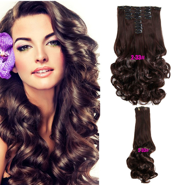 Cheap Curly Hair Extensions Clip In Extension 180g Synthetic Hairpieces Artificial Extention
