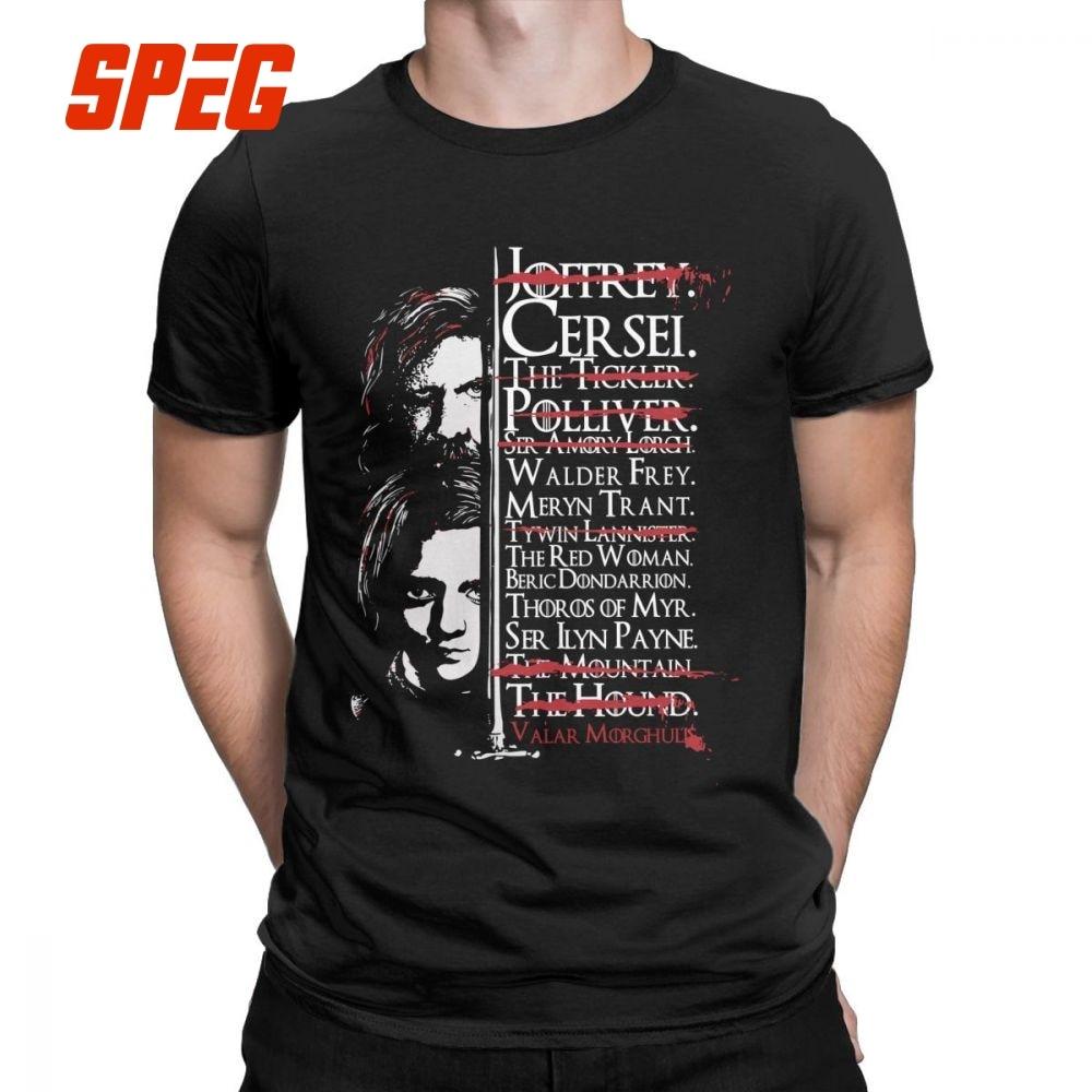 38799b3618 Men's Game Of Thrones T-Shirt Arya Stark The Hound Tees Valar Morghulis All  Men Must Die Vintage 100% Cotton Print Funny T Shirt