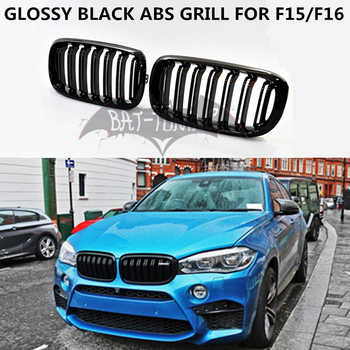 2 Fin ABS Grill For BMW F15 F16 X5 X6 Front Grille Glossy Black Matte Black M Color Front Bumper Kidney Grille X5M X6M 2015+