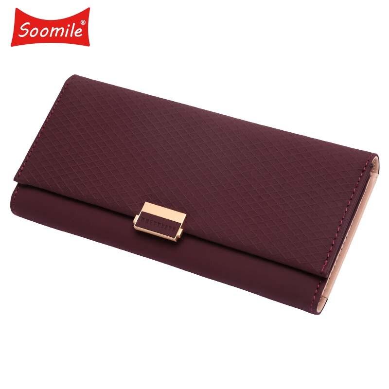 NEW Wallet Female Rhombus PU leather grain Women Wallets Hasp Coin Purse Long Wallet Female Fashion Women Wallet Card Holder wallet