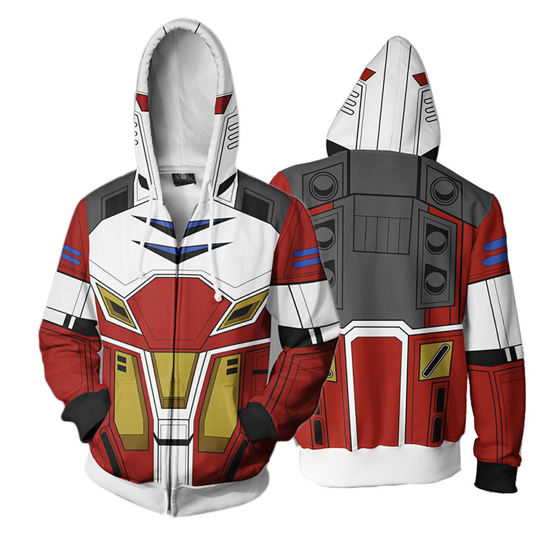 Japanese Anime Gundam Hoodie 3D Printed Hooded Jacket Men's Casual Warm Sweatshirt Zipper Hoody Size S-5XL Dropshipping