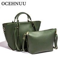 OCEHNUU Luxury Women Leather Handbags Set Purses High Quality Fashion Ladies Handbags Women Shoulder Bags Crossbody 2018 Zipper