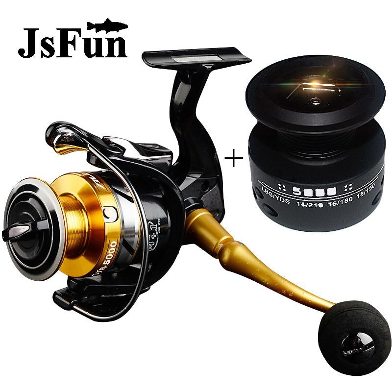 JSFUN 1000-7000 Spinning Reel 14+1BB 5.5:1 Eva Knob Saltwater Sea Fishing Reel Interchangeable handle+Spare Spool FR256 цена
