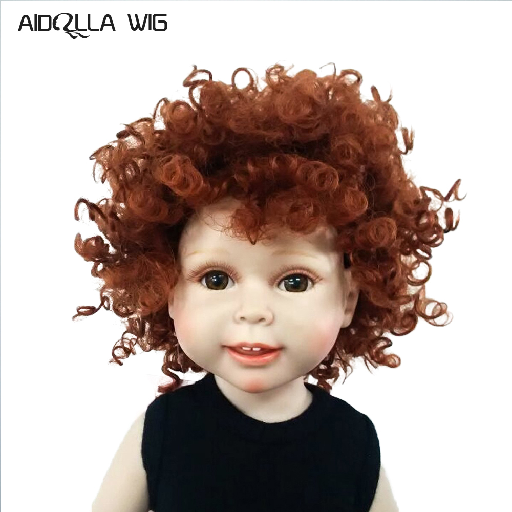 Straight Curly Hair Wig Hairpiece for 18inch Dolls DIY Accessories