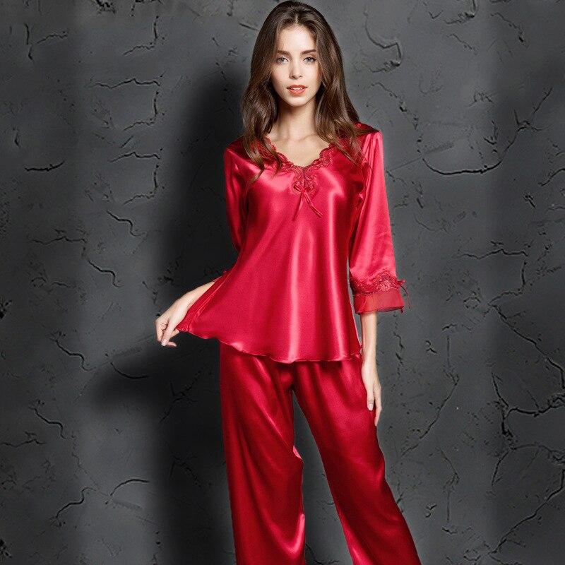 Silk   Pajamas   For Women Pink Nightwear Spring Solid Sleepwear Women Satin   Pajamas     Sets   Long Sleeve