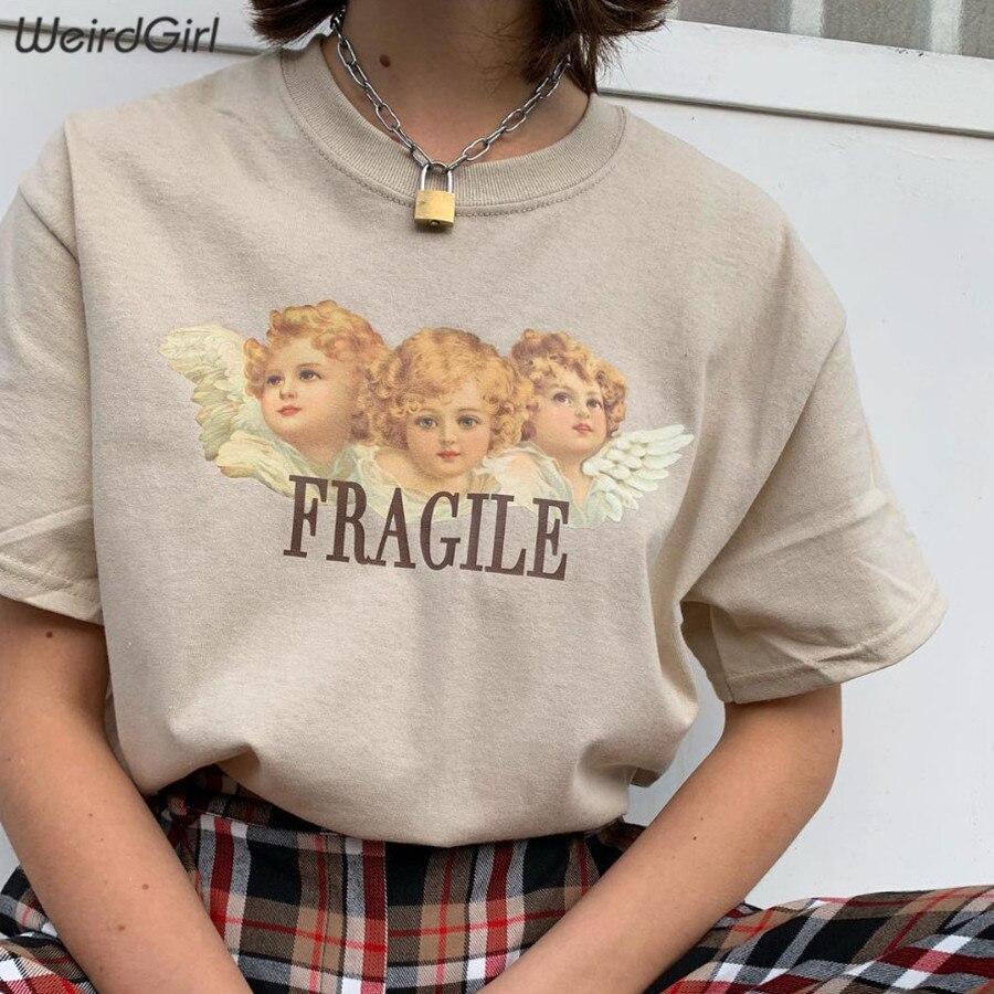 Weirdgirl Women Baby Angel Printing Casual Fashion T-shirts letter Short Sleeve O-Neck Khaki Loose Female Tees Summer New 19 17