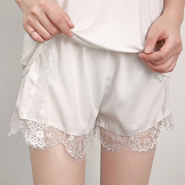 eba90a42fdb Women Sleepwear Pajamas Shorts Female Sleep Shorts Camisole Sexy Lingerie  Sexy Strap Shorts Satin Sleepwear silk pajama bottoms-in Sleep Bottoms from  ...