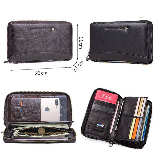 Contact's Cow Leather Men Casual Clutch Wallet Card Holder Zipper Purse With Passport Holder Phone Case For Male Long Wallet 3