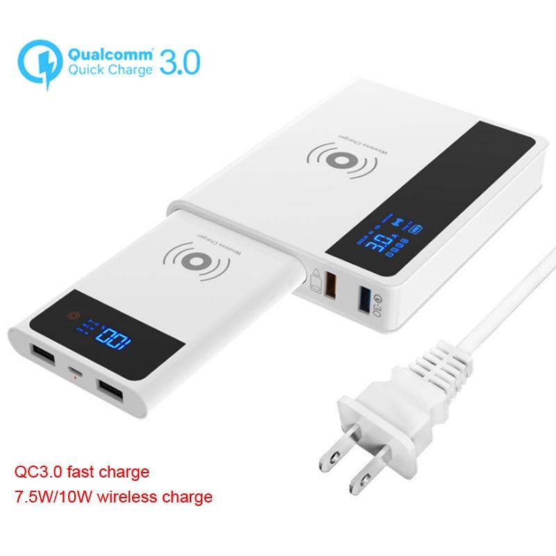 QI chargeur de téléphone portable sans fil pour iPhone Charge rapide 3.0 + 10 W + batterie externe amovible 3 en 1 adaptateur d'alimentation de Charge rapide