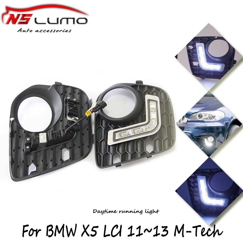 2pcs wholesale price Waterproof 12W 6000K-7000K C ree LED Lights DRL Daytime Running Light For BMW X5 LCI E70 Free shipping