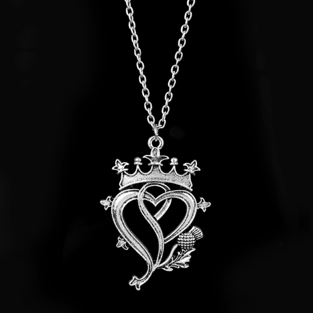 Wholesale Viking Jewelry Crown And Thistle Pendant Double Heart