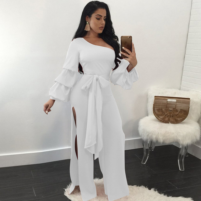 759c66b00a4a black white jumpsuit women split sexy off shoulder rompers womens jumpsuit  sashes lantern sleeve summer overalls Body Feminino