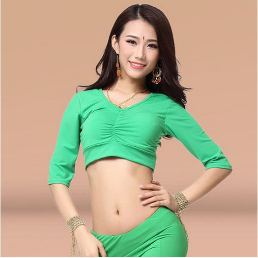 New Arrival Crystal Cotton Belly Dance Top Momen Half Sleeves Belly Dance Tops 9 Colors Sexy Tops
