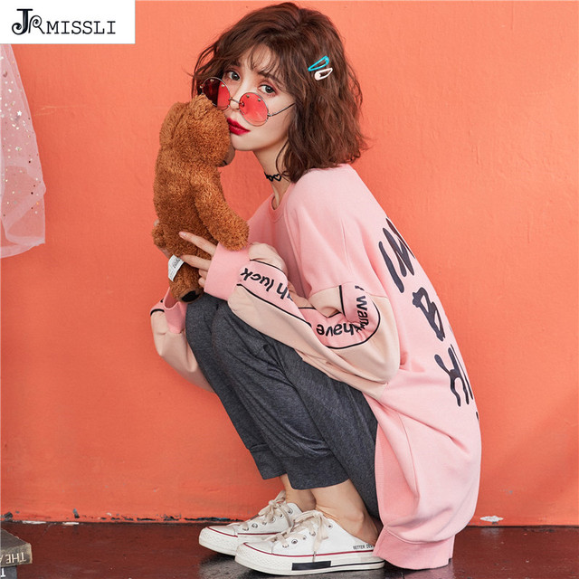 JRMISSLI ฤดูใบไม้ผลิใหม่ผู้หญิงชุดนอนชุดตัวอักษรสีชมพูผ้าฝ้ายชุดนอน 2 ชิ้นชุดสบายๆ Pullover ชุดนอน