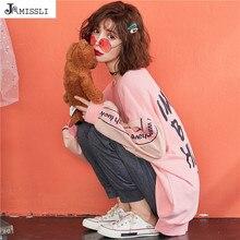 Весенние новые женские пижамные комплекты JRMISSLI, розовая пижама из чистого хлопка с надписью, домашняя одежда, костюмы из двух частей, повседневный Пижамный пуловер