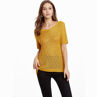 c15e21ece Cute Knitted Hollow Out Diamond Sweater For Women Kawaii Ladies Summer Cosy  Loose Knit Argyle Mustard