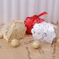 50 Stücke Laser Cut Spitze Blume Candy Boxen Hochzeit Gunsten Partei Süße Kuchen Geschenke