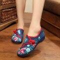 Китайский старый Пекин Женщины Квартиры Вышивка Национальный цветок вышитые обувь ткань мягкая танец случайные ходьбы обувь размер 34-41
