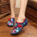 Chinese old Beijing Women Flats Embroidery National flower embroidered shoes cloth soft dance casual walking shoes size 34-41