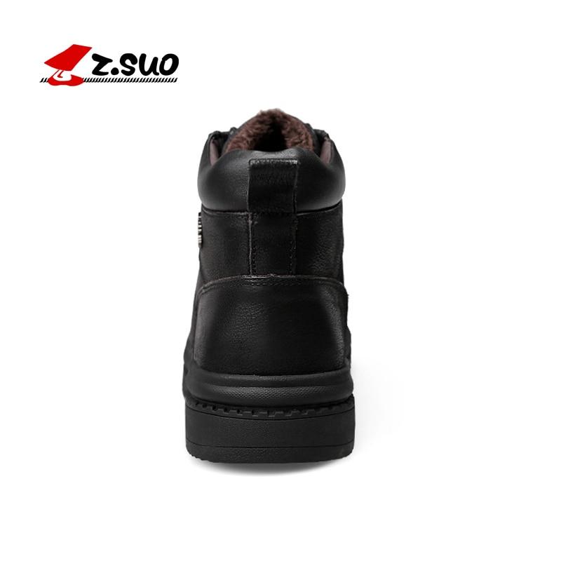Hiver ZSuo Mode Ajouter Fourrure Moto Grande Neige Black Chaussures En Cuir Hombre Chaude Sécurité Caoutchouc De Lacets À Cheville Hommes Bottes Taille 35qRA4jL