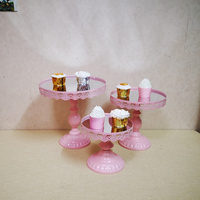 ROUND SQUARE PINK MIRROR TOP EFFECT WEDDING CAKE STAND