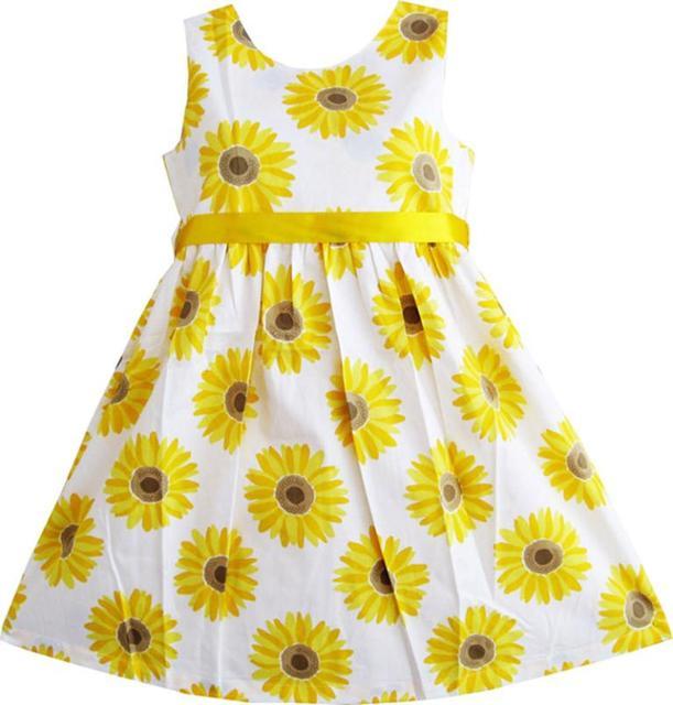533edfd0541e Sunny Fashion Girls Dress Yellow Sunflower School Uniform Sundress Party  Kids Cotton 2017 Summer Princess Wedding