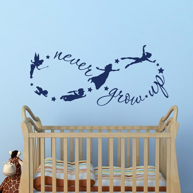 Peter Pan Children Flying Silhouette Never Grow Up Quote Fantasy