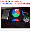 4 шт. 4 мм полноцветный из светодиодов плитка + 1 шт. асинхронный контроллер + 1 шт. 5 В 40a 110 В / 220 В питания, Все кабели fedex / dhl бесплатная доставка