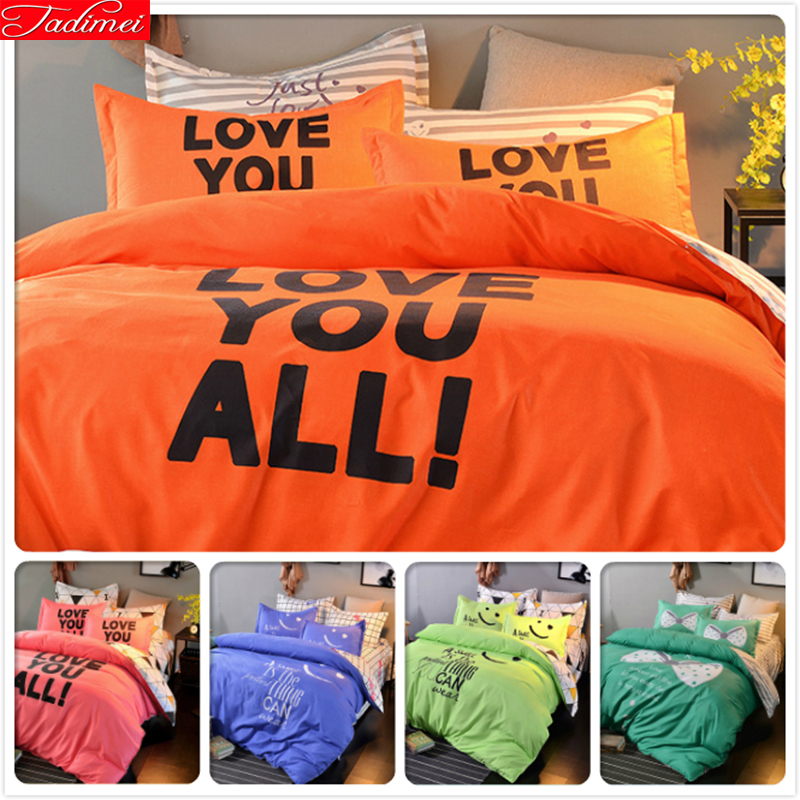 Power Source Capable 3/4 Pcs Bedding Set Lover Orange Ab Side Duvet Cover 1.5m 1.8m 2m Bedsheet King Queen Twin Double Size Bedclothes Kids Bedlinens To Have Both The Quality Of Tenacity And Hardness