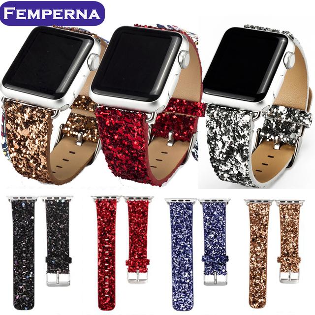 Poder brilhante glitter pu couro bling luxo iwatch banda pulseira de relógio de pulso strap belt para apple watch 38mm 42mm
