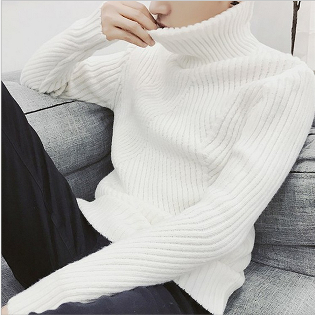 White black turtleneck sweater men pullovers winter thicken cashmere mens knitted jumpers male turtle neck polo