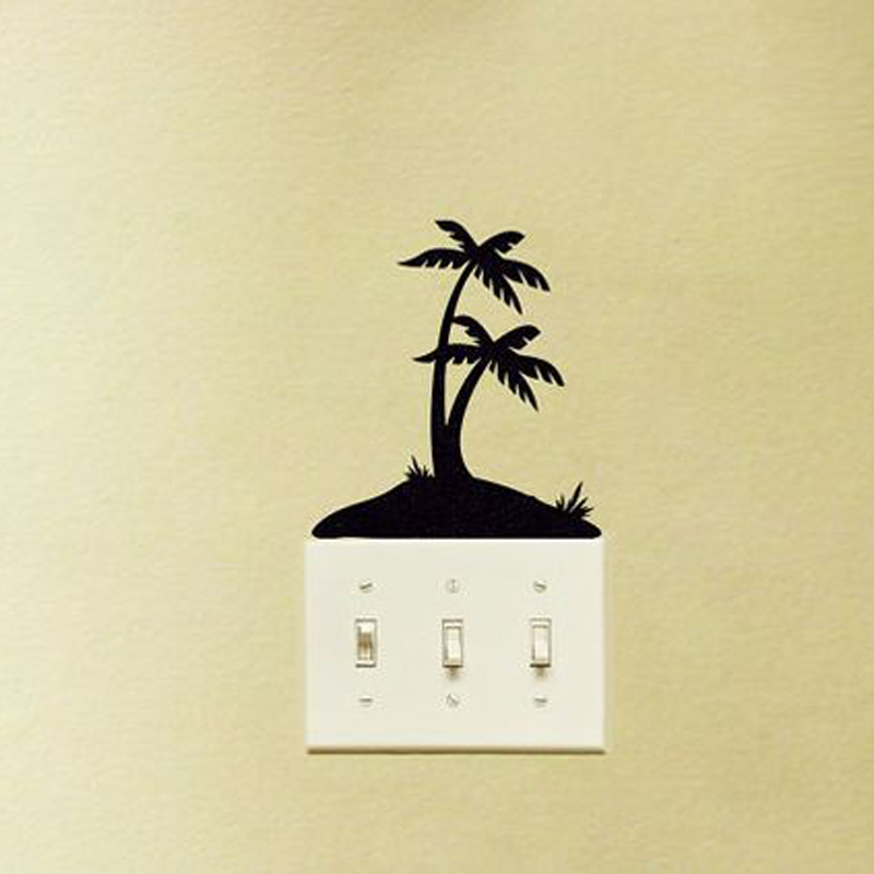 Tropical Island Black Wall Sticker Light Switch Decal Eco-friendly PVC Wall Murals Art Funny Home Decor Removable Wallpaper