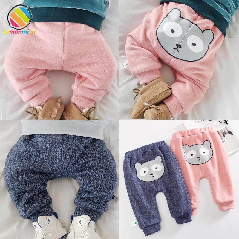 Lemonmiyu Pants Harem Trousers Toddler Baby Winter Casual Warm Velvet Thicken Bear Cartoon