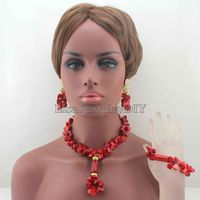 Excellent Nigerian Brides Red Coral Beads Jewelry Set Women Costume Necklace Pendant Jewelry for Wedding Free Shipping HD8089