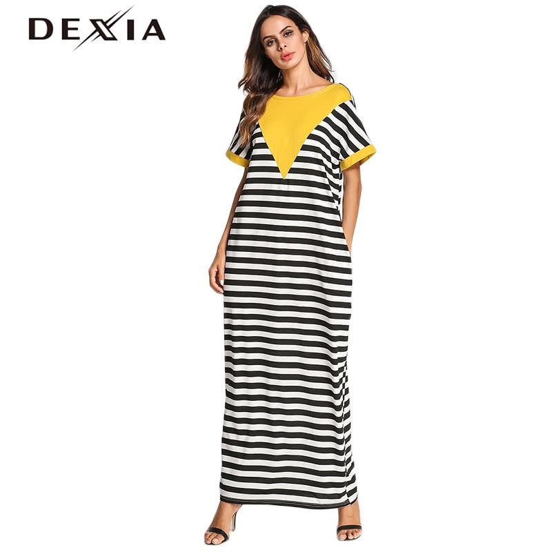 Dexia Striped Dress Female Summer Cascading Loose Casual Robe Vestidos De Fiesta Cortos Elegantes Hollow Out Dresses Sexy Cloth