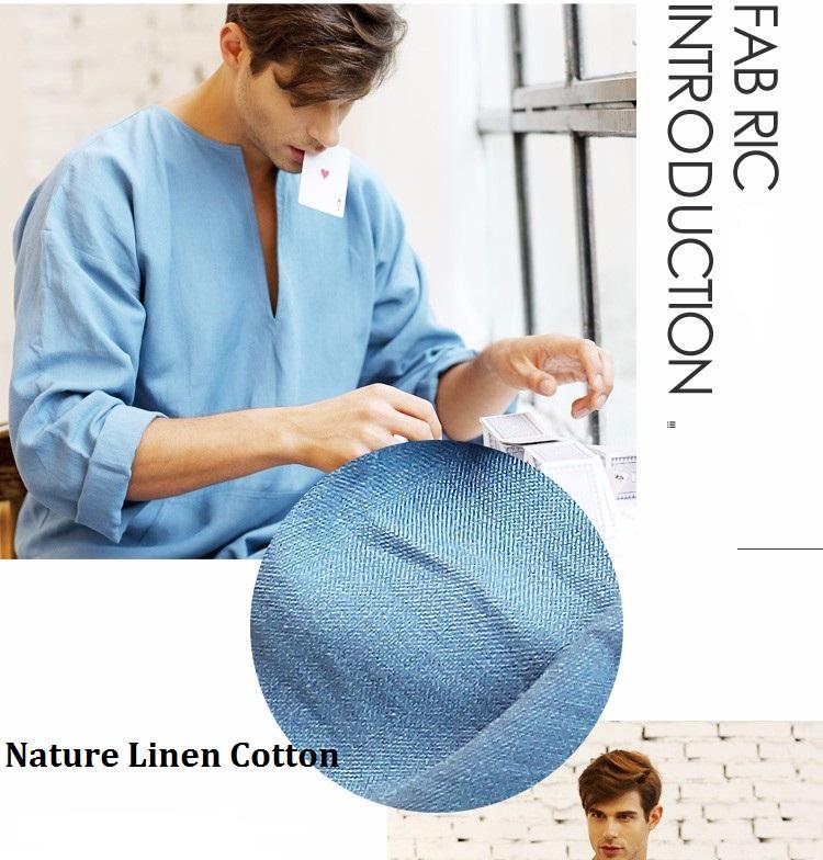 2017 spring   summer Men Full Length bathrobe Ultra Long Nature Linen  Cotton Lounge Wear Home Robed Loungewear Sleepwear Kigurumi Pajamas Robes  gown 7d8309340