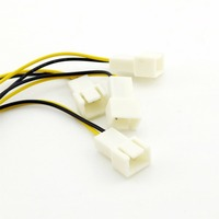 20pcs 4 pin Power Molex (2 Wire Male Pin) to 4 x 3 Pin (Male) Y Splitter Fan Connector Cable Adapter 15cm