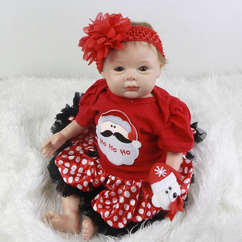 Reborn Silicone Baby Dolls 22 Inch 55 CM New Style Lifelike Princess Girl Babies Cloth Body Newborn Doll Toy Kids Christmas Gift