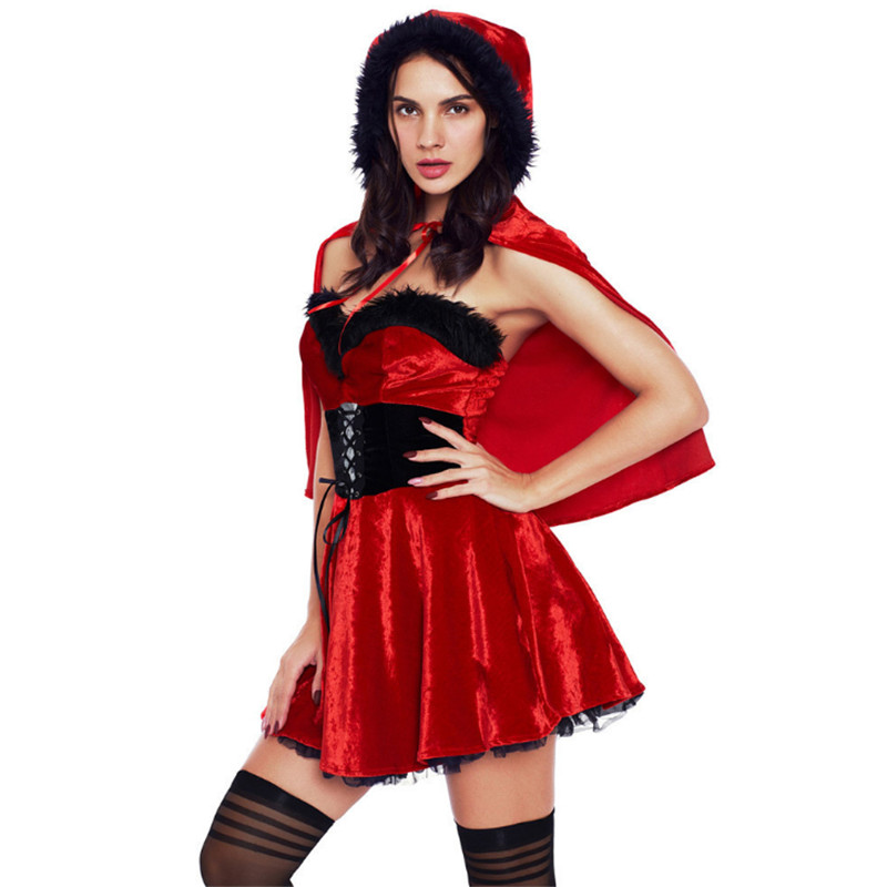 new high quality Sexy Red Christmas Costumes Sleigh Hottie Santa Dress Adult Little Red Riding Hood Cosplay Costume Halloween