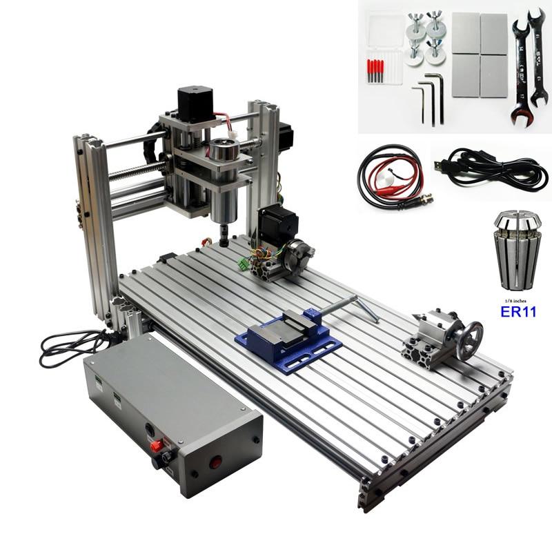 USB CNC Woodworking Lathe Machine 3 axis 4 axis CNC 6030 Engraving Cutting Machine 400W