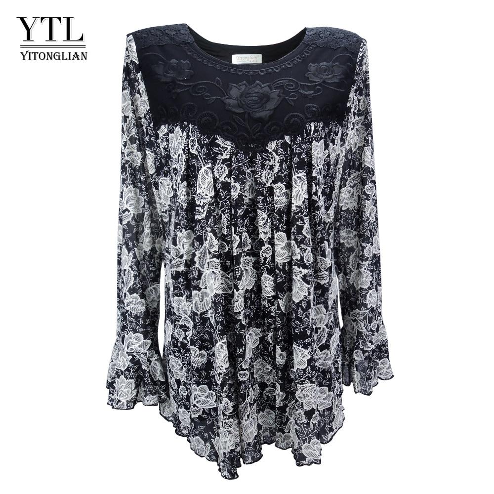 YTL Women Autumn Winter Plus Size Elegant Vintage Floral Loose Tunic Top Flare Sleeve Oversize   Blouse     Shirts   6XL 7XL 8XL H036