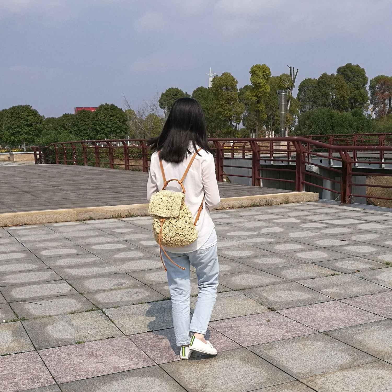 AUAU женская сумка рюкзак модные открытые тканые летние пляжные рюкзаки на шнурке женские сумки соломенная сумка