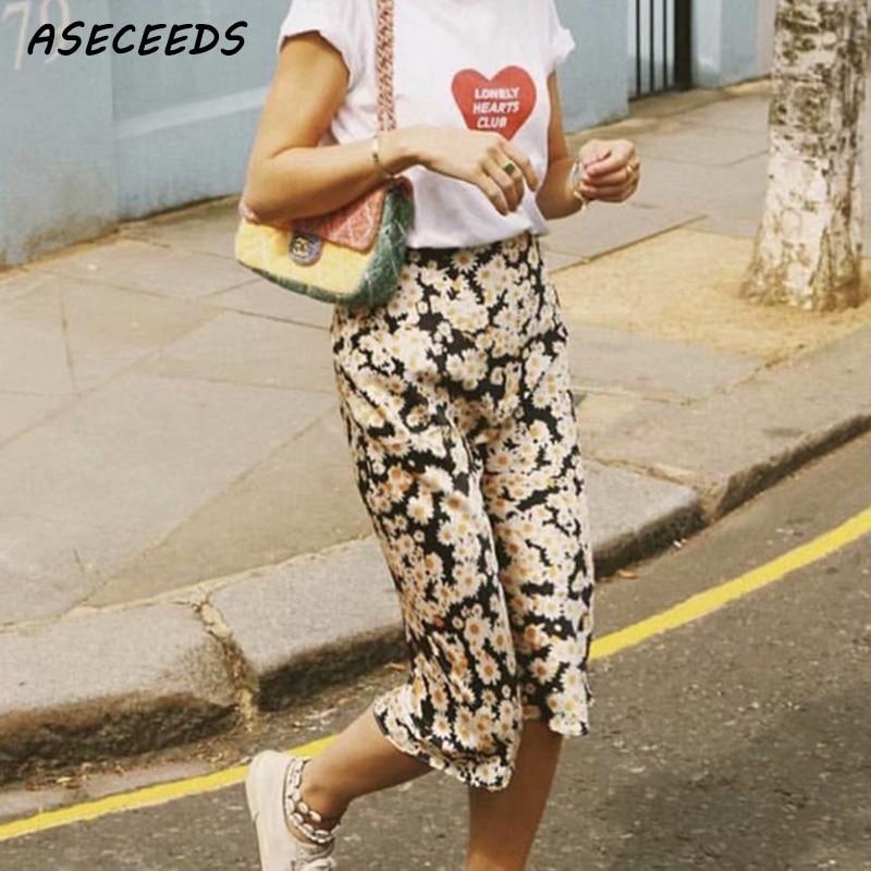 Summer Beach Vintage Elastic High Waist Skirt Leoprad Floral Print Skirts Womens Wild Things 2018 New Korean Fashion