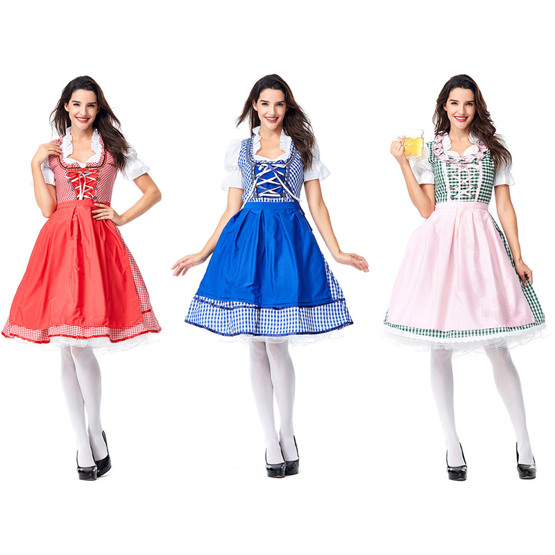 Women Cotton Grid Oktoberfest Sweetie Inga Dress Costumes Suit for Great British Beer Festival Waitress Maid Plus Size