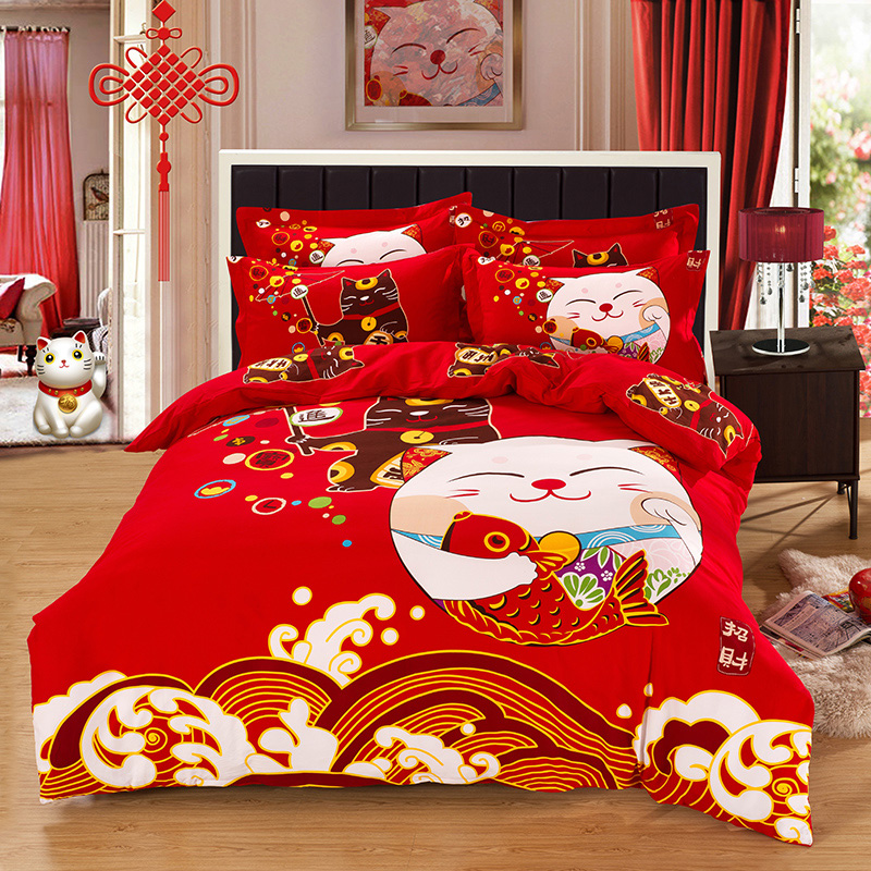 unique lucky new year chinese traditional style bride and - Bed Set Queen