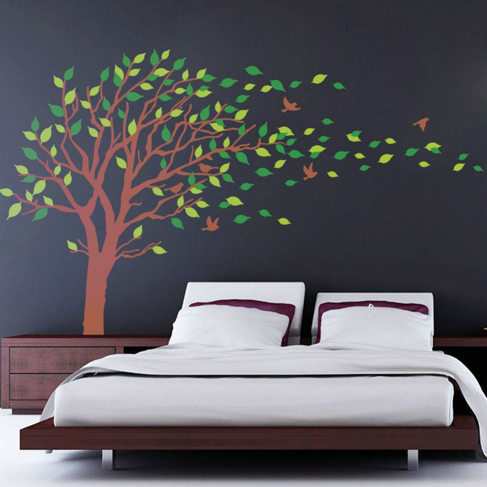 Large Size Big Green Tree Pvc Wall Sticker Kids Room Living Room Bedroom Home Decor