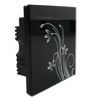 Free Shipping Luxury Black Crystal Glass Switch Panel 3gangs 110 250V Touching Wall Lights Switch