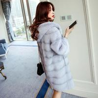High quality Mink cashmere fur coat women large long thick faux fur jacket artificial fashion mink wool hooded fur outwear L1346