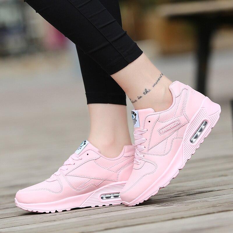 Women Shoes 2019 Fashion Pu Leather Spring Female Shoes Outdoor Walking Shoes Woman Flats Lace Up Women Sneakers Tenis Feminino